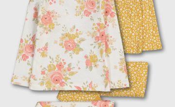 Floral Print & Ochre Pyjamas 2 Pack
