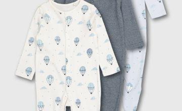 Balloon Print Sleepsuit 3 Pack