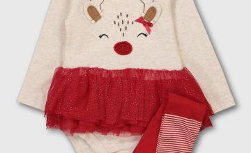 Christmas Reindeer Bodysuit, Headband & Tights