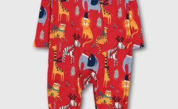 Christmas Red Safari Animal Sleepsuit