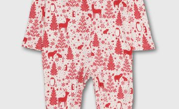 Christmas Red Winter Animals Sleepsuit