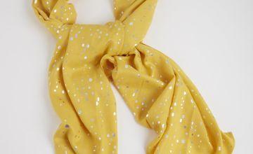 Yellow Spotty Print Scarf - One Size