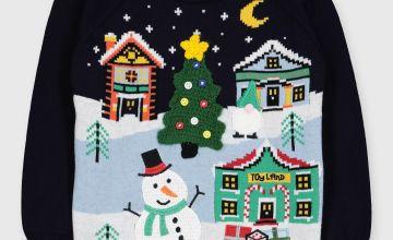 Christmas Navy Scene Knitted Jumper