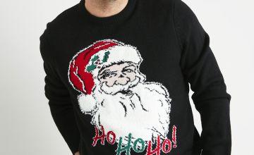 Christmas Santa Black Light Up Jumper