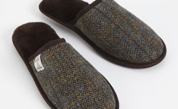 HARRIS TWEED Brown Mule Slippers