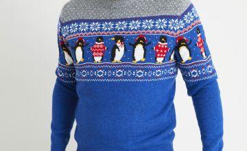 Christmas Blue Fair Isle Penguin Jumper With Wool