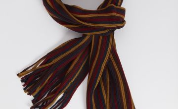 Burgundy, Ochre & Navy Stripe Scarf - One Size