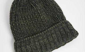Khaki Twist Knit Beanie Hat - One Size