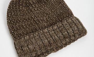 Brown Twist Knit Beanie Hat - One Size
