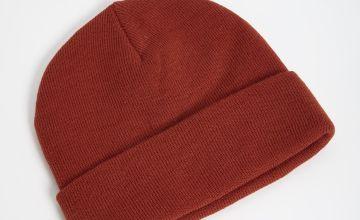 Orange Knitted Beanie Hat - One Size