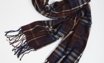Purple Check Woven Scarf - One Size