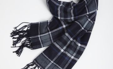 Navy Blue Check Reversible Scarf - One Size