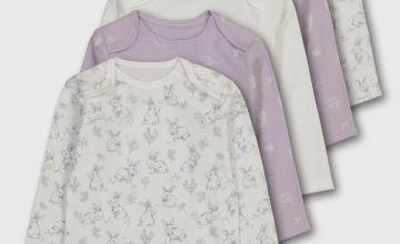 Lilac & Bunny Print Bodysuit 5 Pack