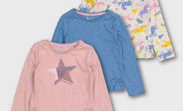 Pink Star & Unicorn Tops 3 Pack