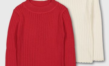 Red & Cream Ribbed Jumper 2 Pack