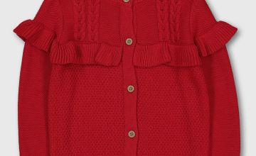 Red Ruffle Cable Knit Cardigan