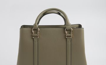 Sage Green Faux Leather Handbag - One Size