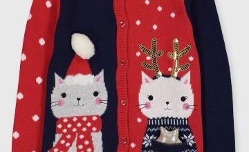Christmas Red & Navy Cat Cardigan