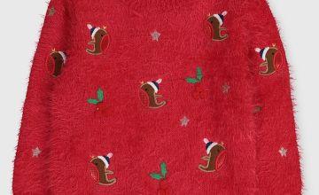 Christmas Red Fluffy Robin Jumper