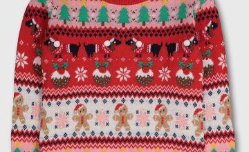 Christmas Red Fair Isle Jumper