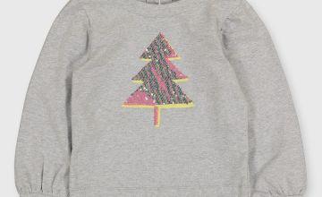 Christmas Tree Sequin Grey Sweatshirt