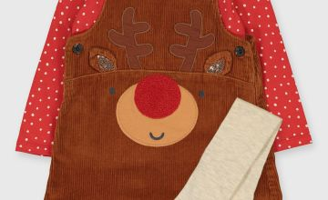 Christmas Red Reindeer Pinafore Dress, Top & Tights