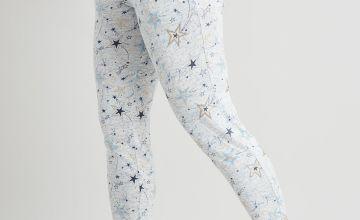 Grey Soft Knit Star Print Pyjama Bottoms