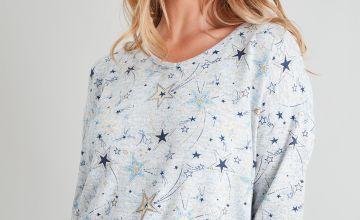Grey Soft Knit Star Print Pyjama Top