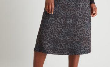 Animal Print Belted Ponte Skirt