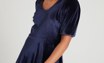 Navy Velvet Tea Dress