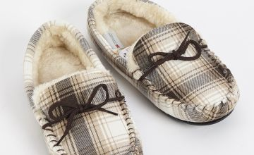 Stone Check Moccasin Slippers