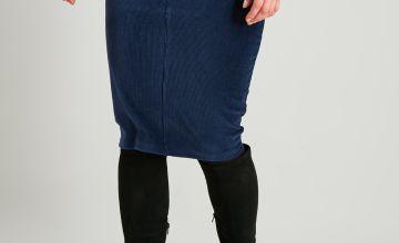 Navy Corduroy Pencil Skirt