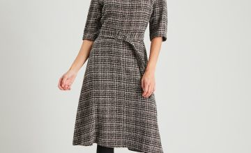Brown Check Bouclé Belted Fit & Flare Dress
