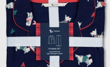 Christmas Scottie Dog Print Traditional Pyjamas
