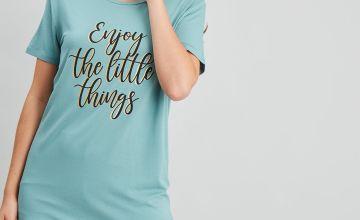 Green 'Enjoy The Little Things' Shortie Pyjamas