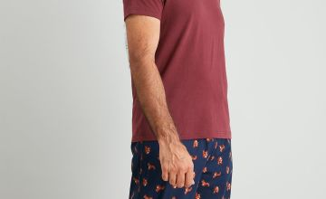 Red & Navy Squirrel Print Full Length Pyjamas