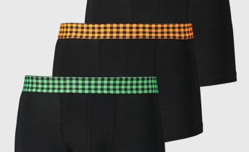 Black With Neon Check Waistband Hipsters 3 Pack