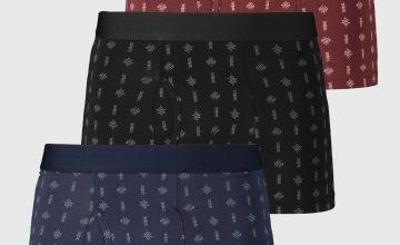 Navy, Black & Burgundy Printed Trunks 3 Pack