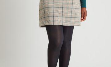 Dogtooth Check A-Line Skirt