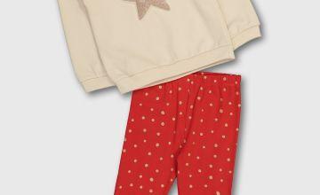 Cream & Red Star Sweatshirt Set