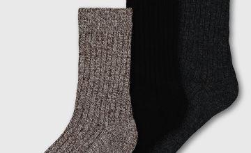 Black, Navy & Brown Twist Boot Socks With Wool 3 Pack