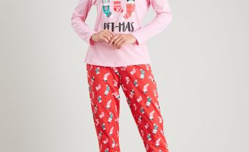 Christmas 'Merry Pet-Mas' Pink & Red Pyjamas