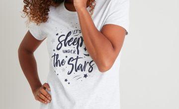 Star Print Slogan Pyjamas