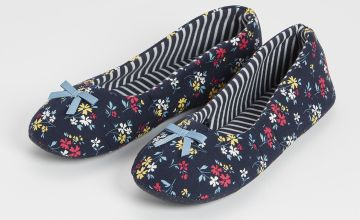 Navy Floral Print Ballerina Slippers