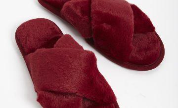 Dark Red Faux Fur Cross Over Mule Slippers