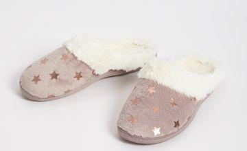 Star Print Faux Fur Trim Mule Slippers