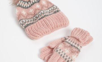 Pink Fair Isle Knitted Beanie Hat & Gloves