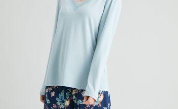 Navy Woodland Print Lace Trim Pyjamas