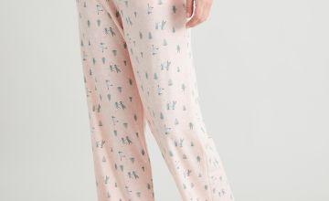 Pink Ski Print Wide Leg Pyjama Bottoms