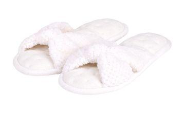 White Popcorn Knot Front Open Toe Pillowstep Slipper
